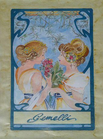 Dipinto eseguito a mano acrilico acquerellato su carta soggetto segno zodiacale GEMELLI formato 30 cm x 42 cm. Tecnica: Penna, Acrilico e Acquerello.