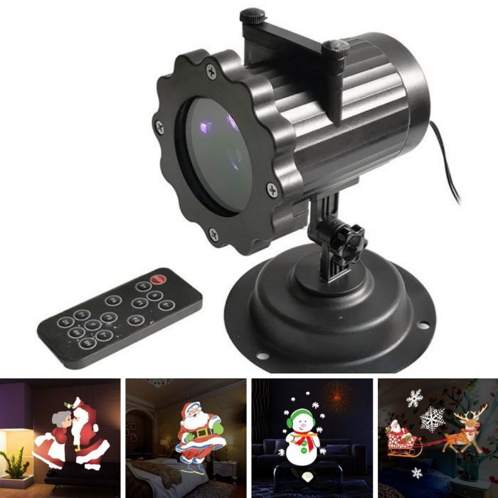 4 GIF Image Slides LED Christmas Light Projector with Remote Control