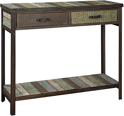 New Randefurn Rustic Console Table 2 Drawers 1 Storage Shelf Metal Legs Solid Wood Country Style Sofa Table Multi Colored Console Tables Entryway Living R In 2020 Country Style Sofas Rustic Console Tables