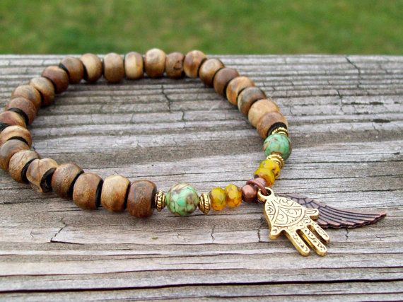 Fatima and Wing charmed Zen Bracelet  Brown Horn by Angelof2, $26.00