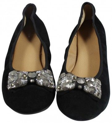 Nordstroms Girls Jeweled Suede Flat Shoe