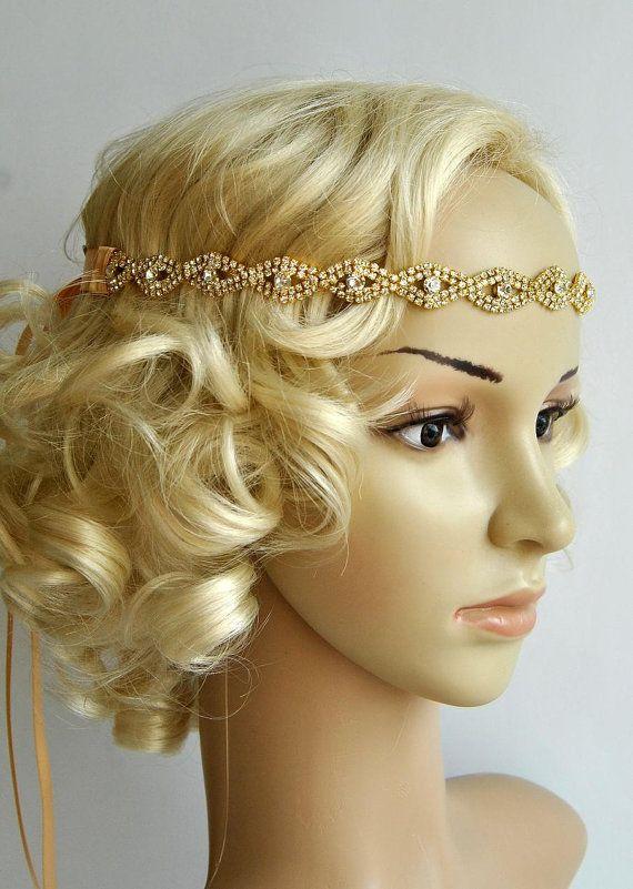 Gold Rhinestone Headband, Great Gatsby Headband, Crystal Headband, Wedding Bridal tie on ribbon Headband Headpiece, 1920s Flapper headband