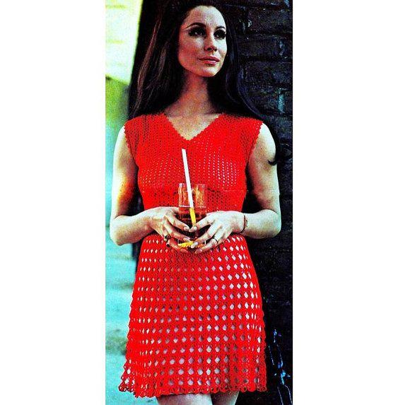 INSTANT DOWNLOAD PDF Vintage Crochet Pattern   Party Dress Mini Retro Plus Free Pattern