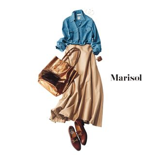 アラフォーのGジャンコーデ、定番ブルーを白に変えるだけで即上品!Marisol ONLINE|女っぷり上々!40代をもっとキレイに。