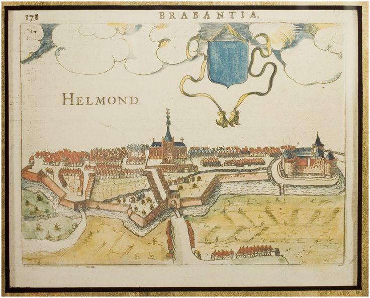 """Helmond. Plattegrond van Ludovico Guicciardini. Uit """"Beschrijving van al de Nederlanden"""" Latijnse uitgave: nr. 178 1616"""