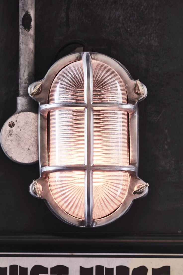 Vintage industrial clock double sided factory clock brilli 233 - Vintage Industrial Cage Bulkhead Wall Light Sconce With Glass 30 Cm