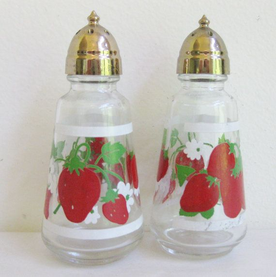 Anchor Hocking Glass Salt and Pepper Shakers, Strawberry