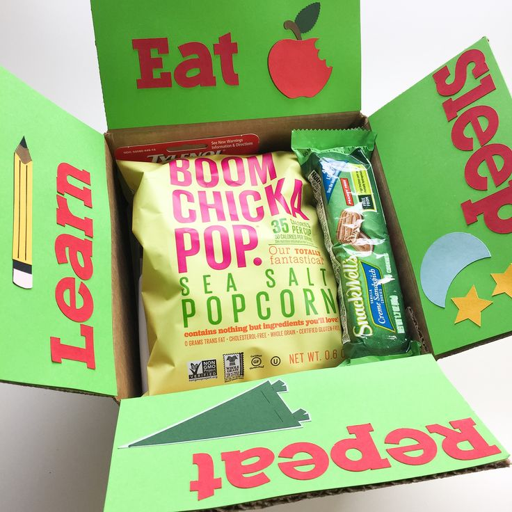 Eat. Sleep. Learn. Repeat. The life of a college student. Let them know you're thinking of them. This neat little hand decorated care package is loaded with goodies. They'll love it!  Please remember