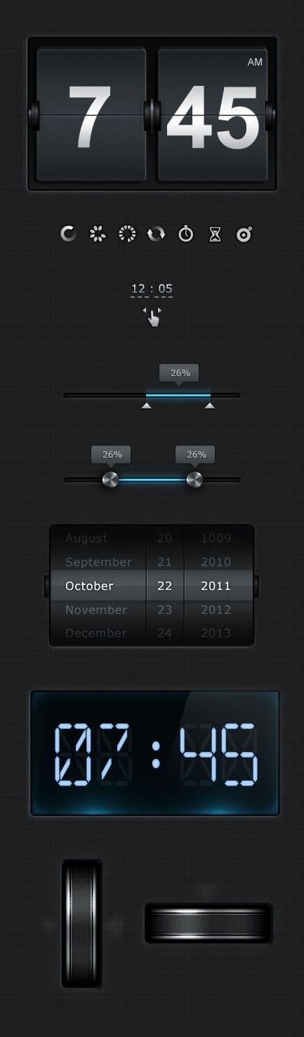 Dark UI - some great looking elements here.