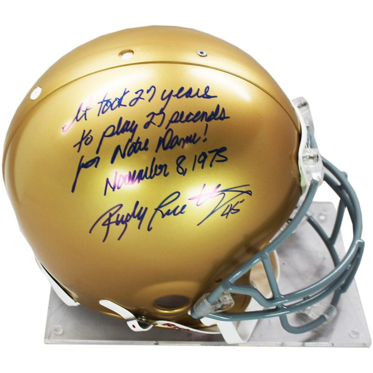 Rudy Ruettiger Signed Authentic Notre Dame Full Size Helmet w It Took 27 Years For 27 Seconds For Notre Dame November 8 1975 ins - Rudy Ruettiger personally hand-signed this Notre Dame authentic full-size helmet and inscribed it It Took 27 Years For 27 Seconds For Notre Dame November 81975. An undersized kid with over-sized dreams Rudy repeatedly was told he was too small to play football. While at Notre Dame Ruettiger was part of the scout team and on the last play of the final game of his…