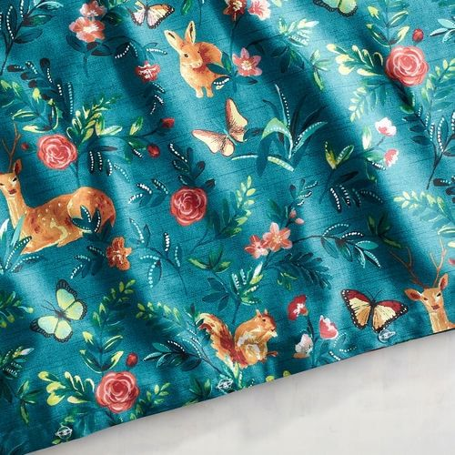 Woodland Critters Teal Full/Queen Duvet Cover