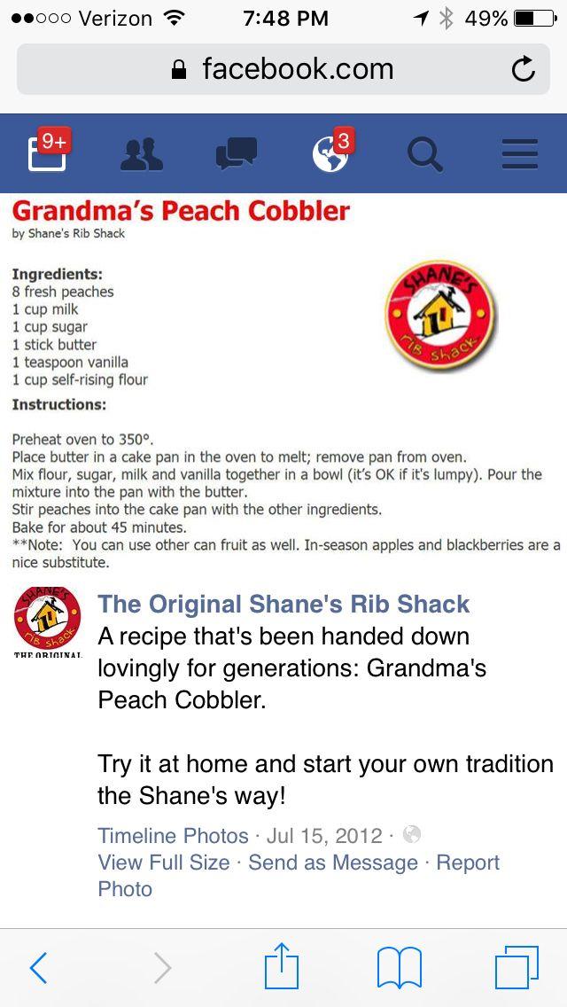 Shane's Rib Shack's Peach Cobbler recipe