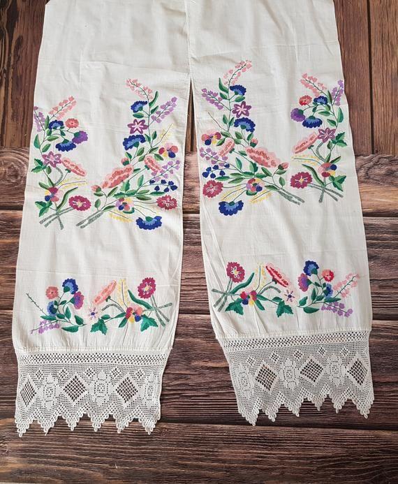 Rustic folk ethnic textile rushnyk Ukrainian embroidery cotton table runner Vintage embroidered towel