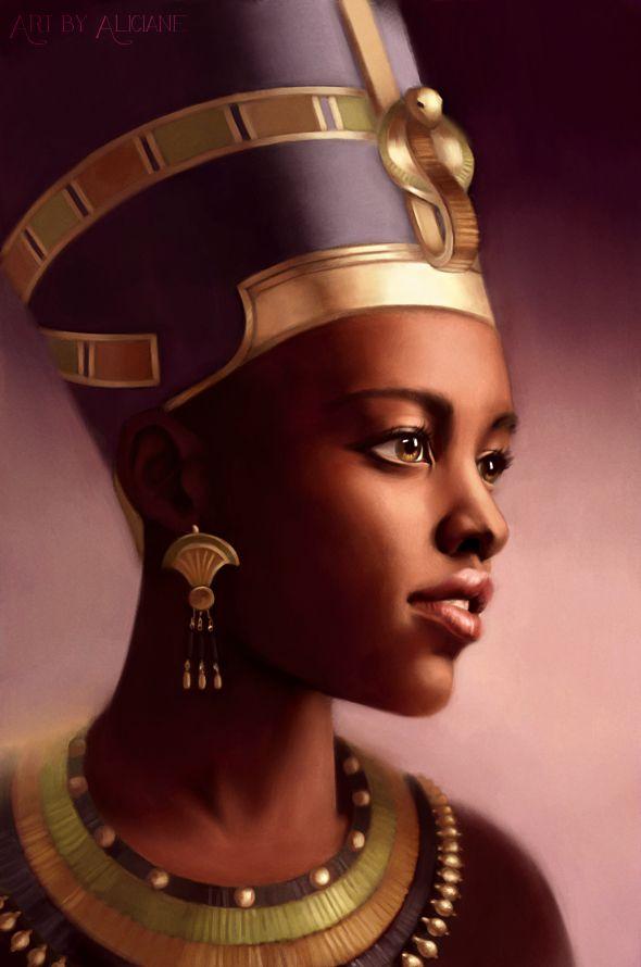 ::::ﷺ♔❥♡ ♤ ✿⊱╮☼ ☾ PINTEREST.COM christiancross ☀ قطـﮧ ⁂ ⦿ ⥾ ⦿ ⁂  ❤U◐ •♥•*⦿[†] ::::  Lupita Niongo wearing the famed Nefertiti crown, in an artist portrait inspired by ancient Egypt.