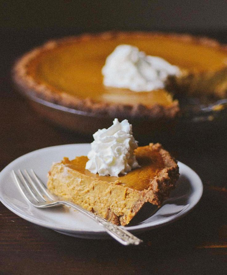 ginger pumpkin pie with graham cracker crust (think I'll try it with a gingersnap crust!)