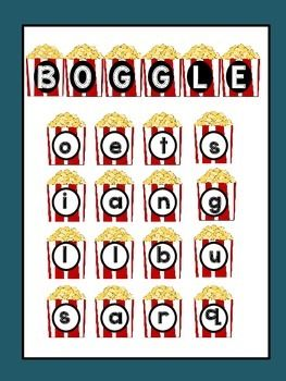 *** FREEBIE!*** BOGGLE popcorn themePractice word building skills in a fun way.Just print, laminate, and create a Popcorn Boggle Theme Board in your own classroom!!! Included:Boggle Recording SheetInstructionsLettersFeel free to comment!Thanks so much for stopping by.Need SPELLING PATTERN Posters?http://www.teacherspayteachers.com/Product/SPELLING-PATTERNS-100-Posters-Mini-Posters-1614509Rock, Paper,Scissors
