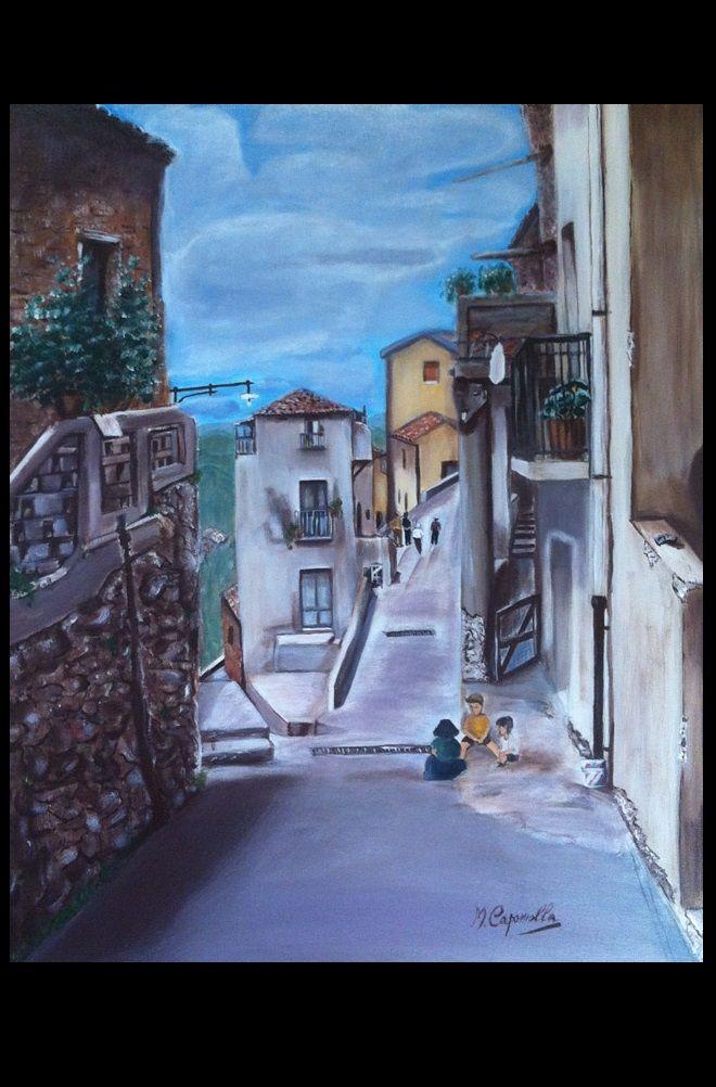 Il borgo, olio su tela 50x70