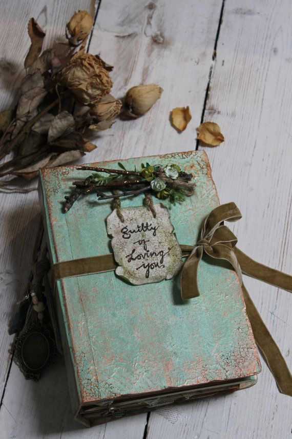 Woodland photo album wedding guest book journal by LotusBluBookArt