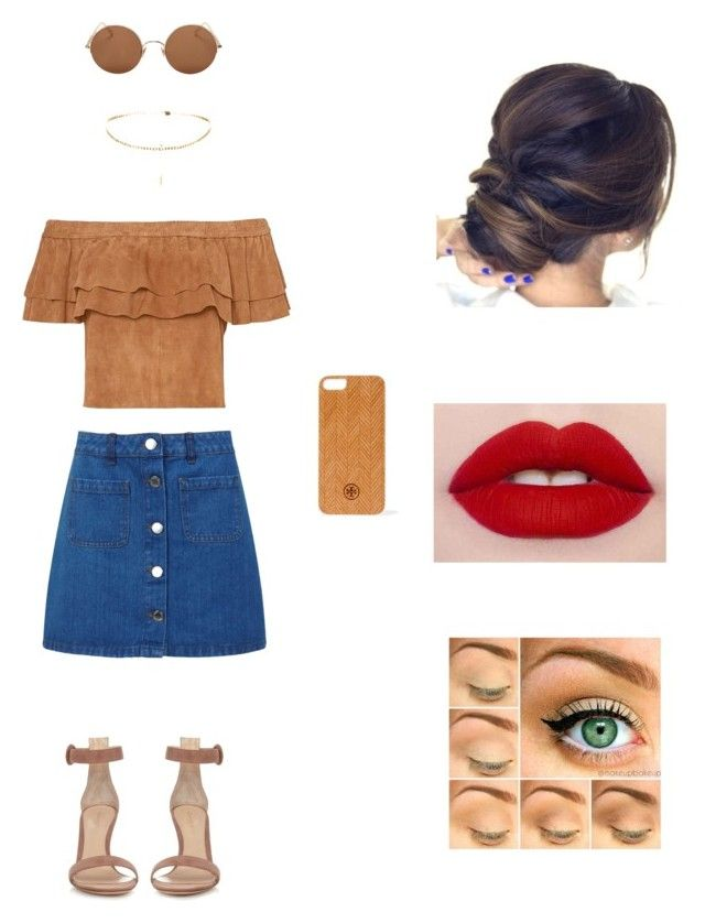 """about Brown"" by aasti3638 on Polyvore featuring Miss Selfridge, Gianvito Rossi, Sunday Somewhere and Tory Burch"