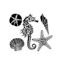 "TCW Crafters Workshop 6"" Stencil Mask Template MINI SEA CREATURES Starfish Shell"