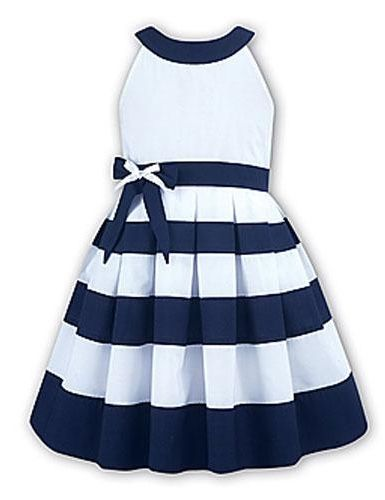 Nautical Dress with Bow - Flower Girl