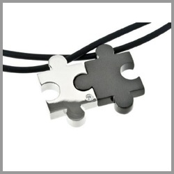 The Couples Puzzle Necklaces are two piece necklaces for couples that is an expression of their love.    Choose from the interlocking couples necklaces...