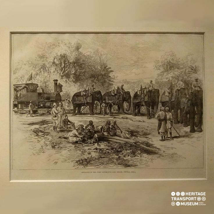 The lithograph is showing an engine which is being pulled by the elephants!  #lithograph #vintagecollection #transportmuseum #incredibleindia