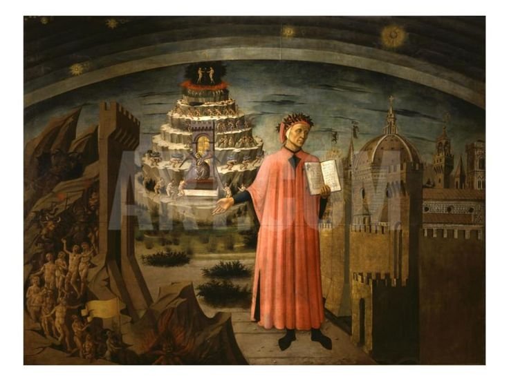 La Divina Commedia Illumina Firenze, Dante Aligheri Giclee Print by Domenico di Michelino at Art.com