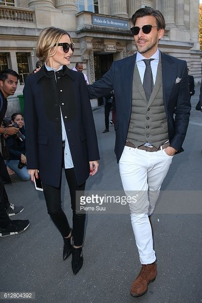 Olivia Palermo and Johannes Huebl arrive at the Moncler Gamme Rouge show as part of the Paris Fashion Week Womenswear Spring/Summer 2017 on October 5...