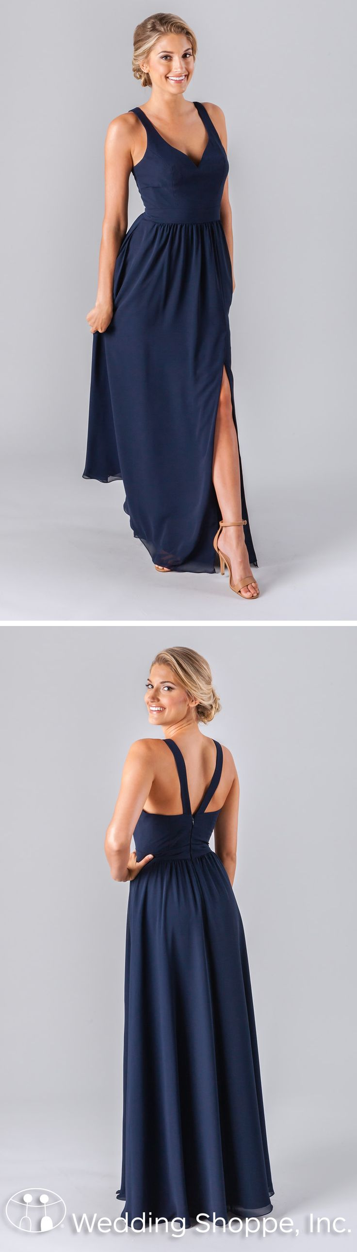 Kennedy Blue Riley: A simple navy bridesmaid dress in a long A-line style made of breathable, luxe chiffon fabric. The plain bodice features an elongating V-neckline and the straps create a V-back.