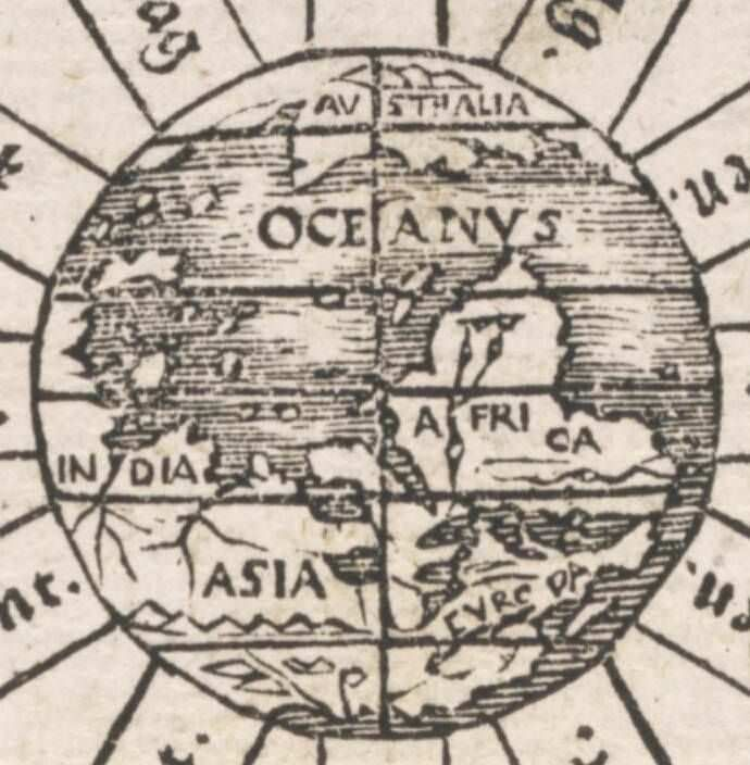 1545 world map with the southern hemisphere land mass titled 1545 world map with the southern hemisphere land mass titled australia at the top gumiabroncs Gallery