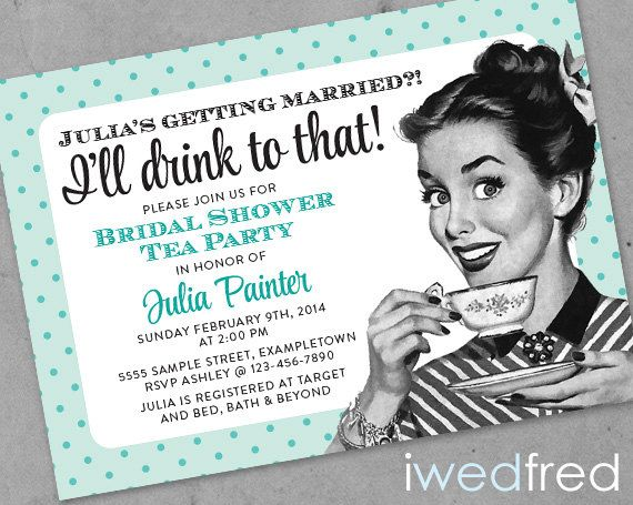I'll Drink to That - Printable Retro Bridal Shower Invitation on Etsy, £10.25