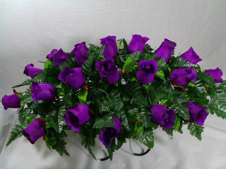 Headstone Cemetery Tombstone Saddle Silk Flower Saddles Dark Purple Roses