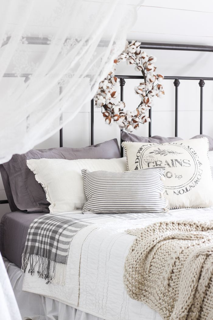 Fall Bedroom + Fall Into Home Tour | A beautiful farmhouse bedroom decorated with simple touches of fall!