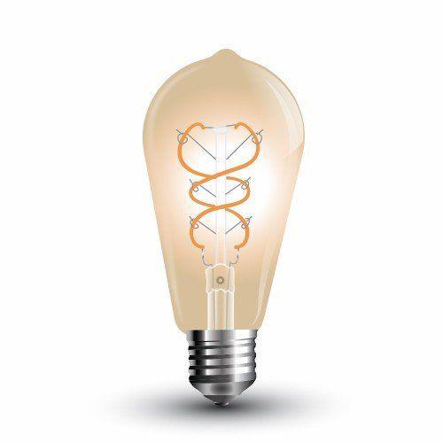 LED lámpa , égő , izzószálas hatás , E27 foglalat , 5 Watt , meleg fehér , arany üveg , vintage