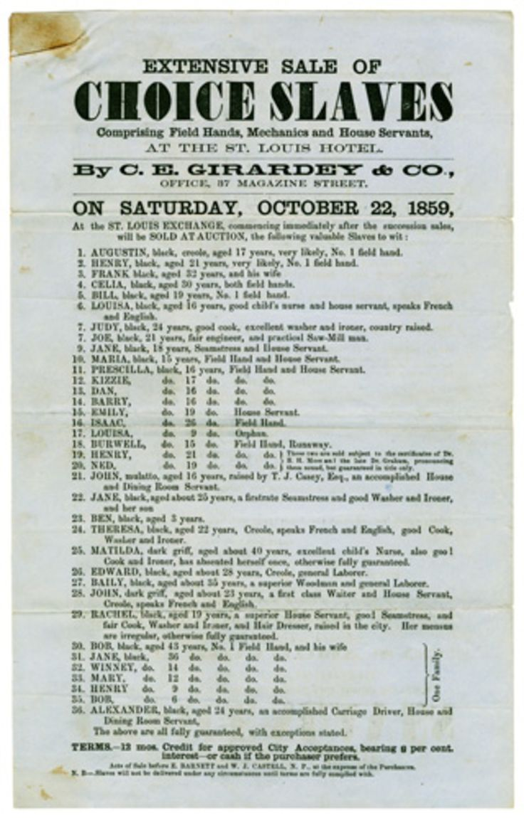 Extensive Sale of Choice Slaves, New Orleans 1859, Girardey, C.E.