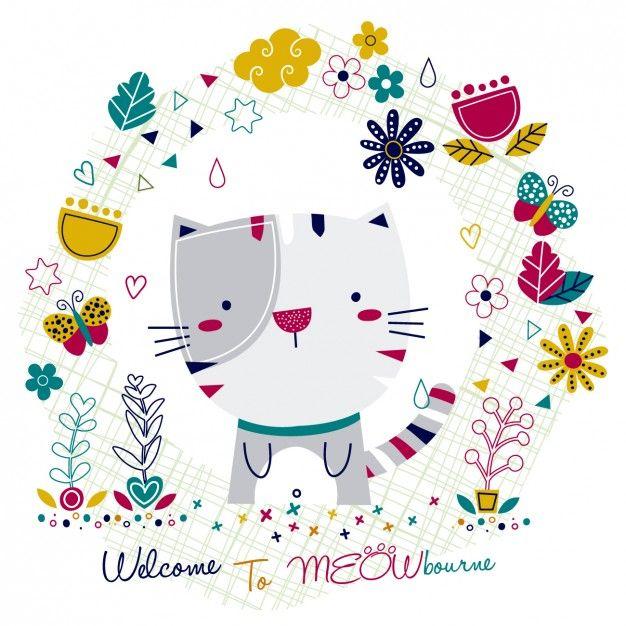 Cartão com gato e floral Vetor grátis