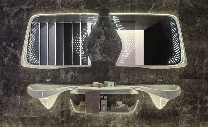 """It was the première at Salone del Mobile, in Milan, of the first design of the """"Vitae"""" bathroom suite, a mixed production between the luxury porcelain manufacturer Porcelanosa and Zaha Hadid Design studio."""