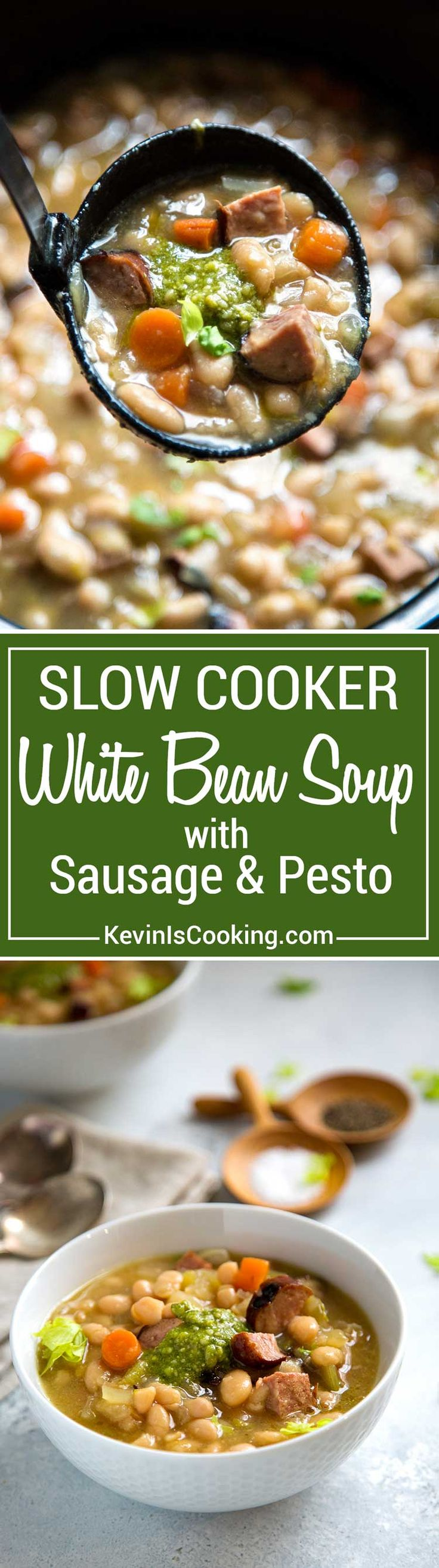 This Slow Cooker White Bean Soup has added beef kielbasa sausage for a heartier meal. Grilled or pan seared for that added caramelization flavor, plus a touch of fresh pesto tops it all before serving. This totally makes it!