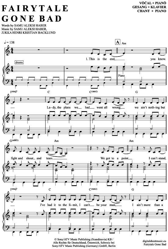 >>> KLICK auf die Noten um Reinzuhören <<< Fairytale Gone Bad (Klavier + Gesang) von Sunrise Avenue für Noten und Playback zum Download für verschiedene Instrumente bei notendownload Blockflöte, Querflöte, Gesang, Keyboard, Klavier, Klarinette, Saxophon, Trompete, Posaune, Violine, Violoncello, E-Bass, und andere ...