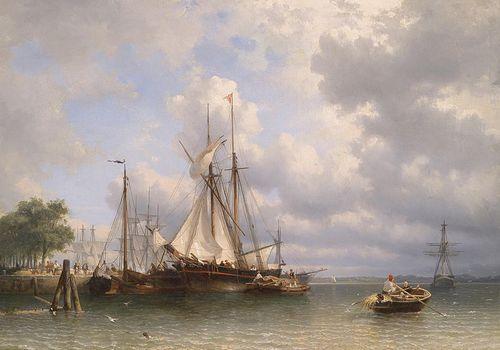 by Anthony Waldorp, or, Antoine de Saaijer Waldorp, 'Segleboot im Hafen'.