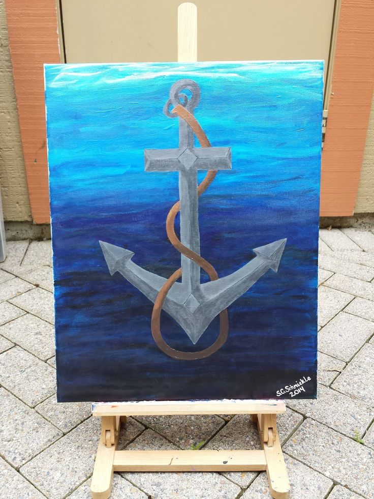 Anchor painted with acrylic paint made by my lovely friend @kraftykrazian