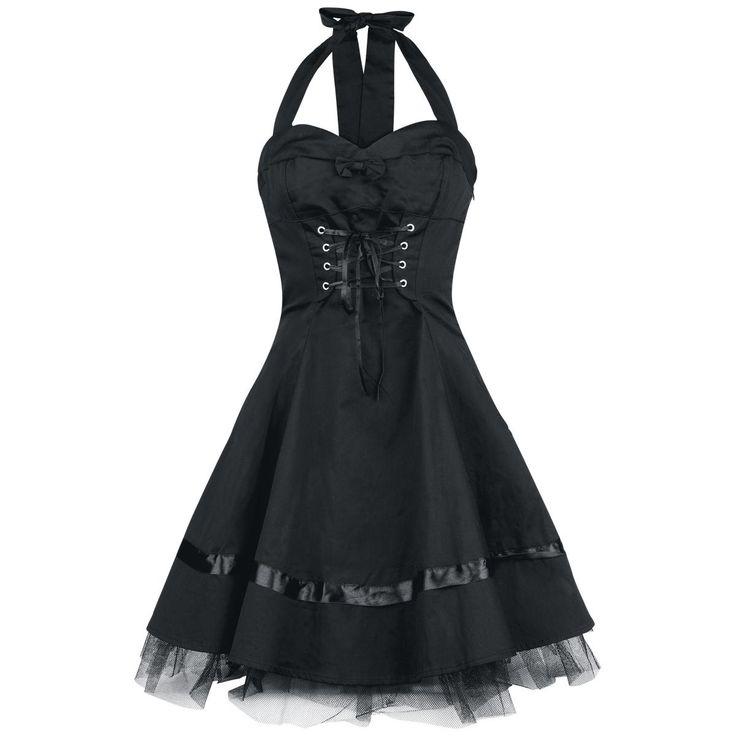 "Chic ""Lace Cotton Dress"" dress  - halterneck - side zipper - front and back lacing - back length: ca. 61 cm"