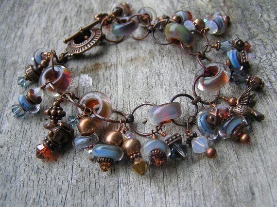 Neat idea: use large hole beads as connectors - and this is a beautiful piece too!