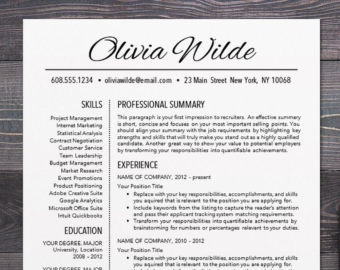 Resume Template - CV Template for Word, Mac or PC, Professional Resume Design, Free Cover Letter, Creative, Modern, Teacher - Olivia