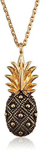 ca-women-Damen-Collier-Ankerkette-Anhnger-Ananas-925-Silber-gelb-vergoldet-und-schwarz-lackiert-45-cm