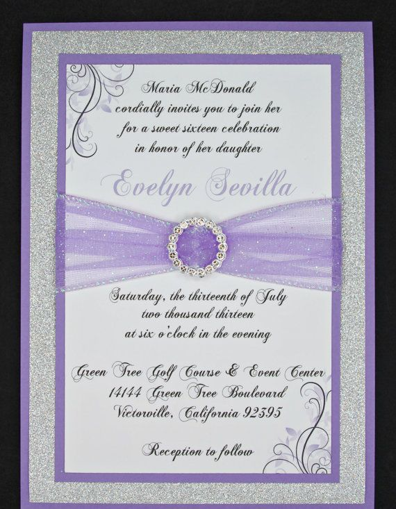 DIY Lilac/Medium Purple Wedding Quinceañera/Sweet Sixteen Invitation Full  Of Bling, Sparkle, And Dazzle Custom U0026 Handmade