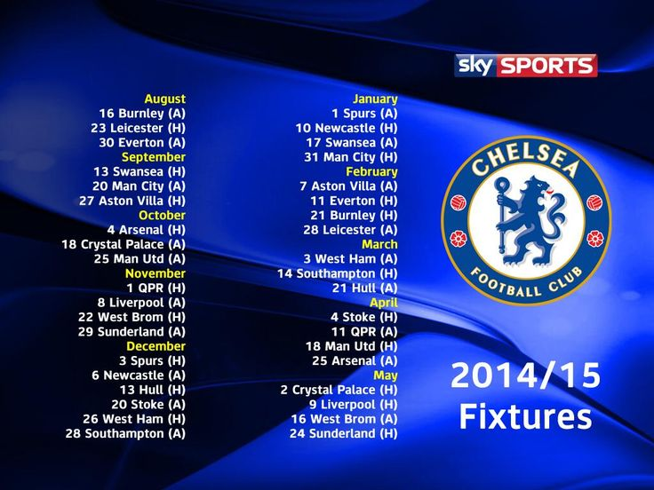 Chelsea fixtures for the 2014-15 season