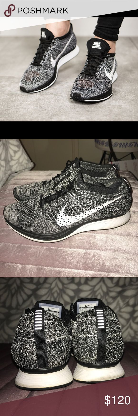 Nike flyknit racer Oreo unisex Worn a handful of times. Sad memories of my ex 😔these are a men's 6.5 = women's 8 Nike Shoes Athletic Shoes