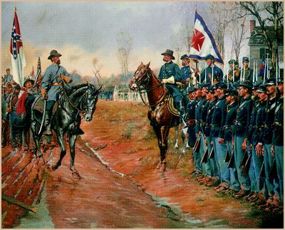 So much going on in this image of the surrender at Appomattox - discuss...
